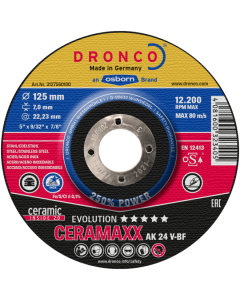 Обдирочный диск 125x 7.0x22 AK24V inox CERAMAXX evolution T42 DRONCO 3127560100