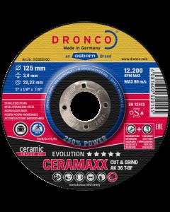 Обдирочный диск 125x 3.0x22 AK36T inox CERAMAXX evolution T42 DRONCO 3123551100