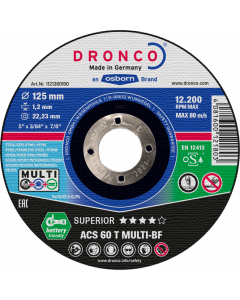 Cutting disc 115x1.2x22 ACS60T MULTI SUPERIOR DRONCO 1111360100