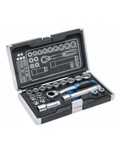 """Socket set 12-kant 1/4""""-3/8"""" (19tk.10-24/E12-24) steelbox HT1R478 HÖGERT"""