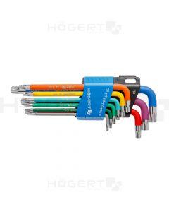 TORX key set (T10-15-20-25-27-30-40-45-50) colour coded/plastic holder HT1W817 HÖGERT