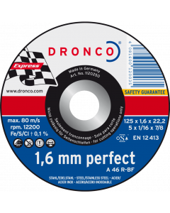 Отрезной круг 125x1.6x22 A 46R inox PERFECT DRONCO 1120250100