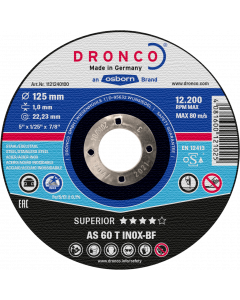 Cutting disc 100x1.0x16 AS60T INOX SUPERIOR DRONCO 1101240100