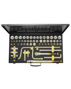 "Padrun võtmete k-t  6-kant 1/2"" (57tk kmpl.) met.kohver No.771-LSSMF ELORA"