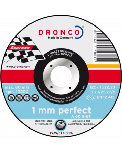 Отрезной круг 125x1.0x22 A 60R inox PERFECT DRONCO 1120240100