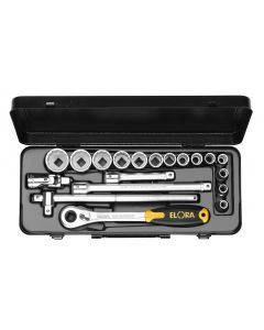 "Socket set  6-point 1/2"" (14 sockets 10-32) metal storage case No.771-LINDMU ELORA"