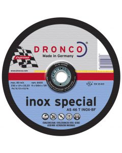 Cutting disc 230x1.9x22 AS46T INOX T42 Superior DRONCO 1233250100