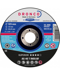 Cutting disc 125x1.6x22 AS46T INOX Superior DRONCO 1121250100