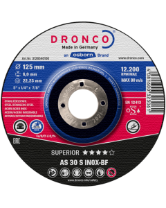 Grinding disc 115x 6.0x22 AS30S INOX superior T42 DRONCO 3116540100