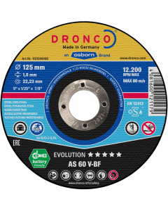 Cutting disc 125x1.0x22 AS60V INOX EVOLUTION DRONCO 1121246100