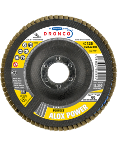 Flap disc 115x22 ALOX POWER120 tapered DRONCO 5231209100
